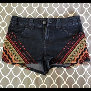 Tribal print jean shorts